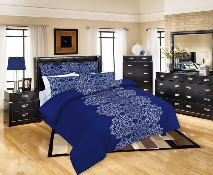 Changingbedrooms Com King Size Blue Damask Duvet Cover Set Inc