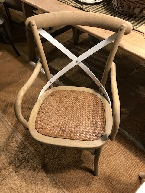 CARVER VERSION - Rhone Cross Back / bent wood Dining Chair - Light oak with white cross back