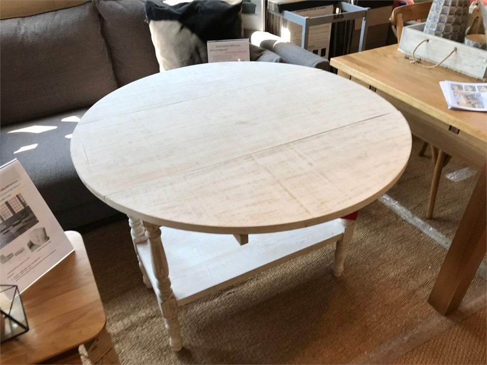Drop Leaf Dining Table in Distressed white finish