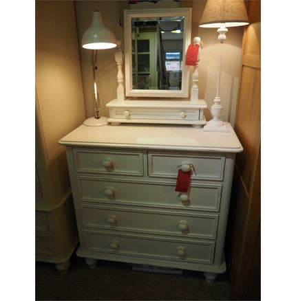 EX DISPLAY OFFER - Ascot 2 Over 3 Chest Of Drawers with mirror and headboard