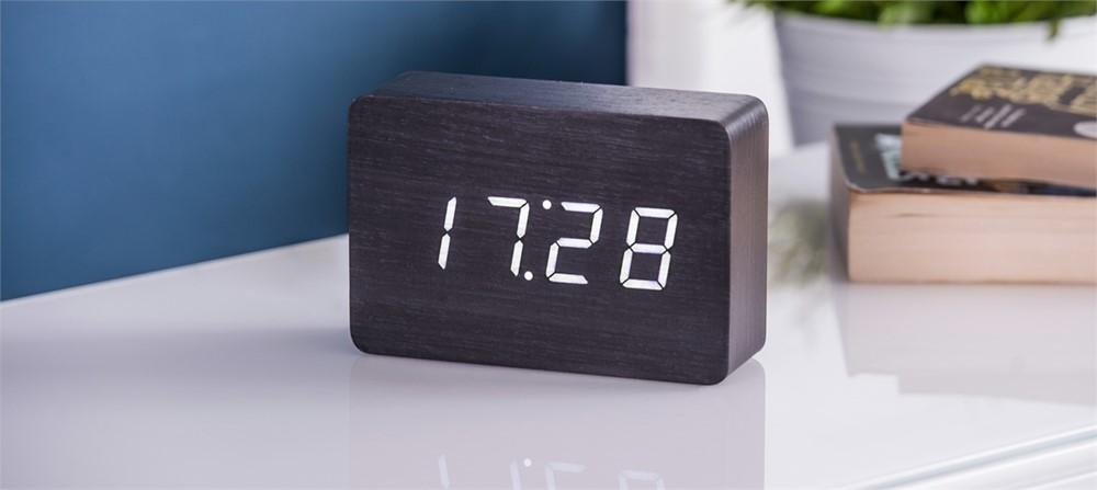 Gingko Brick Black Click Clock