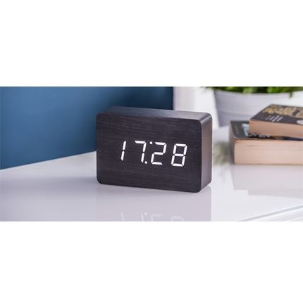 Gingko Brick Black Click Clock