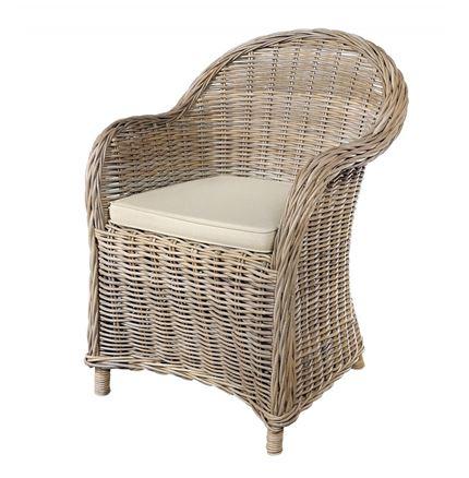 Grey Kubu / Rattan Armchair with seat pad