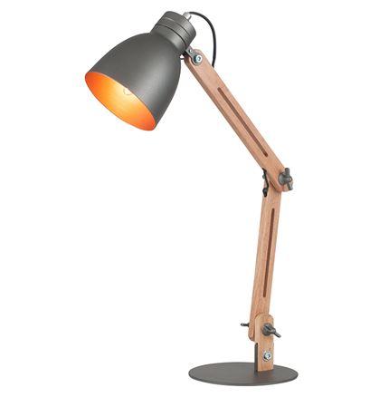 Grey Metal & Antique Style Wood Table Task - Desk - Lamp