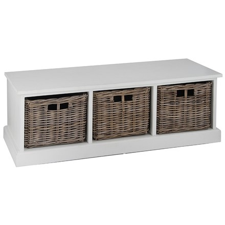 Hall Storage Bench - White Wood & Grey Kubu 3 Drawer Unit - ideal for a shoe locker