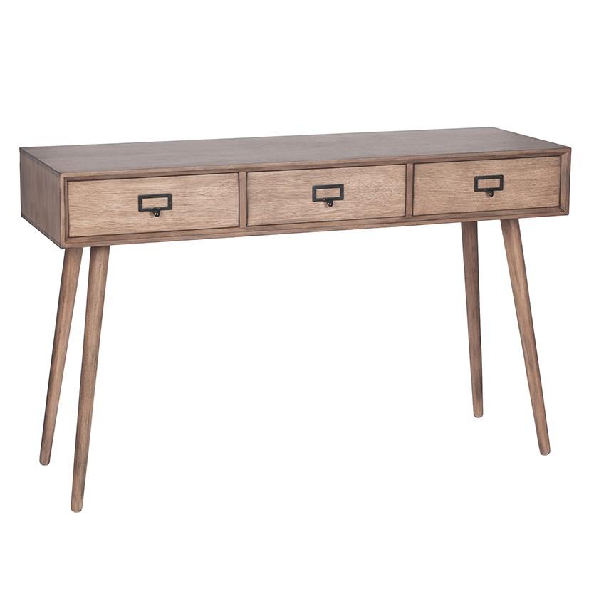 Klimt - Desert Brown Pine Wood 3 Drawer Unit - Console Table