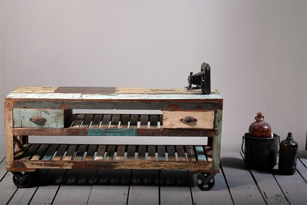 Little Tree Reclaimed Furniture - Mary Rose Upcycled TV Plasma Unit On Wheels