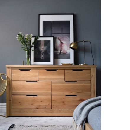 Milan Bedroom Furniture - 7 Drawer Wide Chest