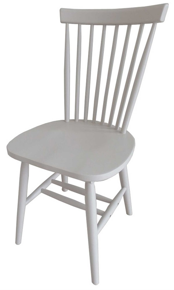 Rib Spindle Back Dining Chair - Chalk Finish - white
