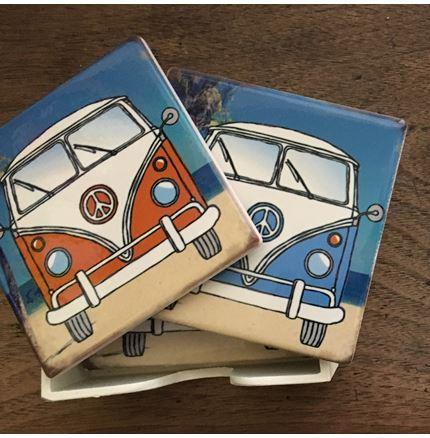 VW Camper Van Coasters - Ceramic set of 4 in container