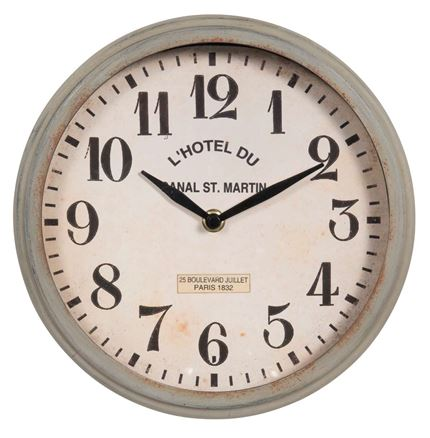 Wallclock Canal St. Martin - light Grey-zinc finish