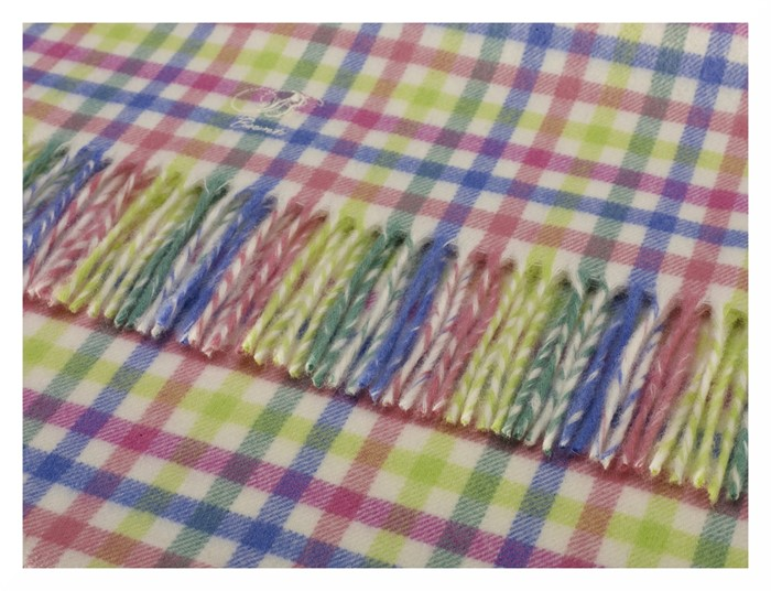 95ea2e7fd12 Wool Blanket Online. British made gifts. Lambswool Baby Blanket - CANDY GINGHAM  CHECK