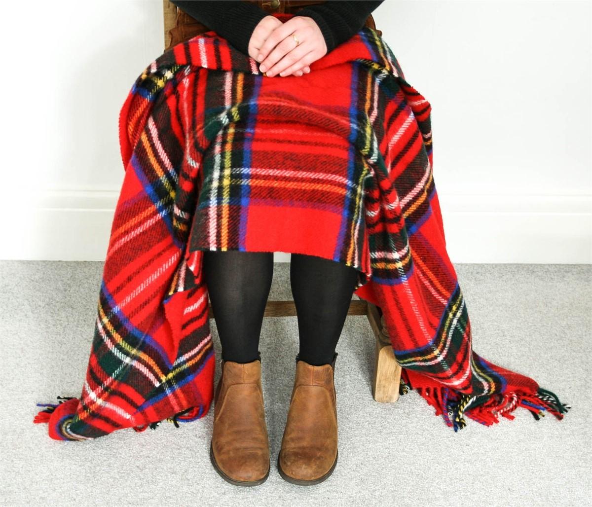 Wool Blanket Online. British Made Gifts. Red Royal Stewart